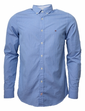 Striped Dot Printed Shirt, Placid Blue