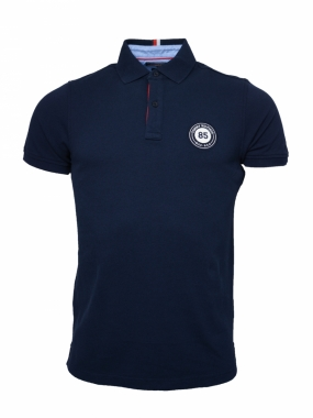Texture Badge Polo, Navy Blazer