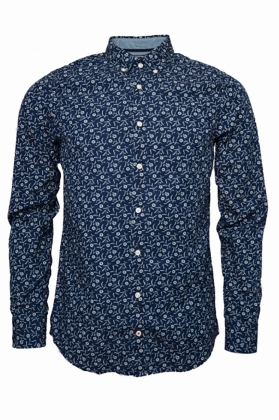 Slim Indigo Flower Print Shirt, Indigo & Bright White