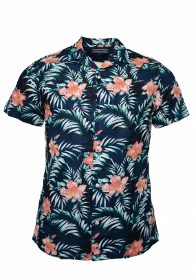 Slim Printed Hawaiian Shirt ss, Navy Blazer