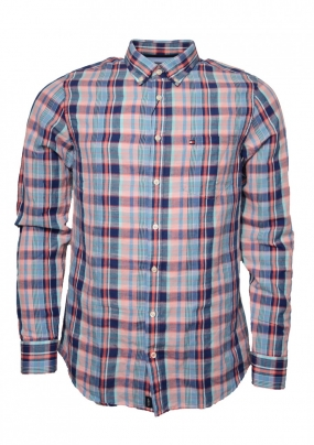 Slim Co/Li Subtle Check Shirt, Sodalite Blue & Hot Coral