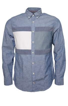 Flag Patchwork Shirt, Indigo