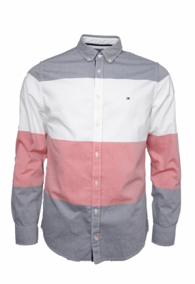 Global Stripe Block Shirt, Bright White Multi
