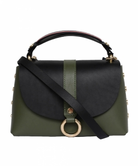 Hardware Leather Studded Shoulder Bag, Four Leaf Clover