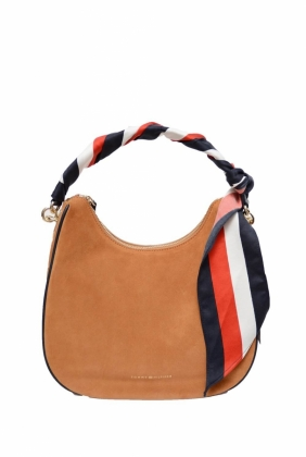 Statement Strap Suede Hobo Bag, Cognac