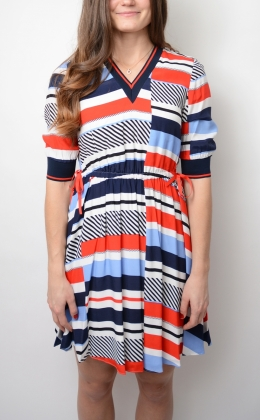 Kaylee V-nk Dress 1/2 Slv, Speed Patchwork Stp