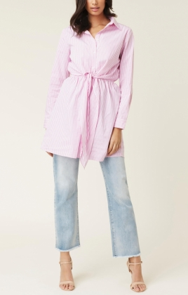 Nella Shirt Dress, Pink & White