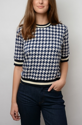 Jacomina Blouse, Night Sky Houndstooth