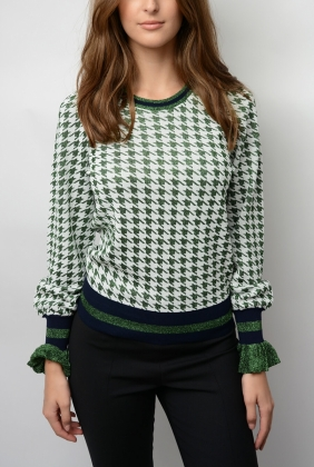 CHARISSA SWEATER, GREEN HOUNDSTOOTH
