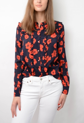 Maryann Blouse, Navy Poppy