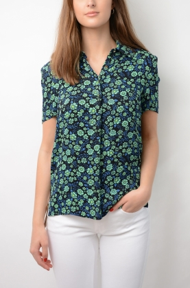 Melba Blouse, Mint Flowerbed