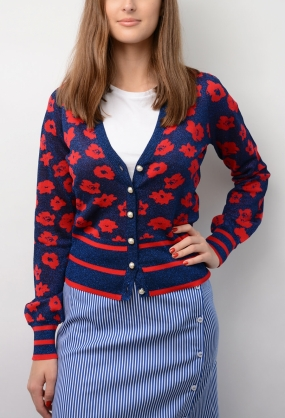 Cher Cardigan, Navy Poppy