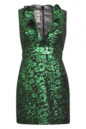 Abee Dress, Green Lurex Flower