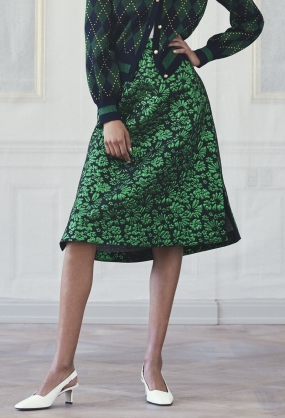Salal Skirt, Green Lurex Flower