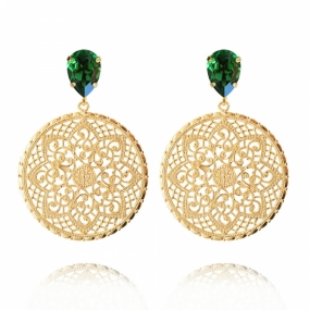 Alexandra Earrings, Dark Moss Green