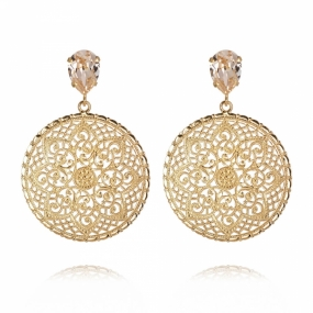 Alexandra Earrings, Gold & Silk