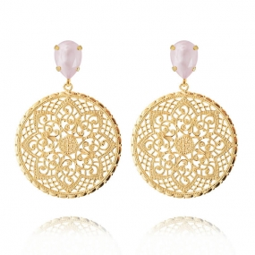 ALEXANDRA EARRINGS POWDER ROSE, GOLD