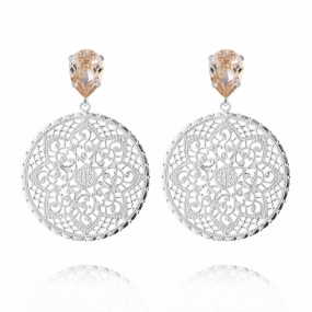 Alexandra Earrings, Rhodium & Silk
