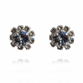 Aello Earring Rhodium, Black Diamond & Silvernight