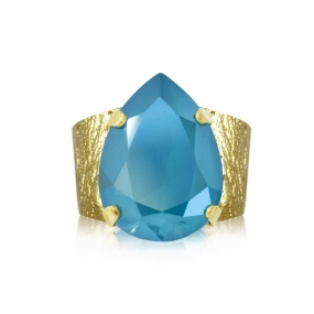Classic Drop Ring Gold, Azure Blue