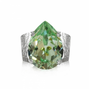 Classic Drop Ring Silver, Chrysolite