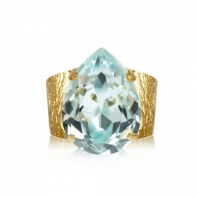 Classic Drop Ring Gold, Light Azure