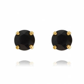 Classic Stud Earrings, Gold & Jet