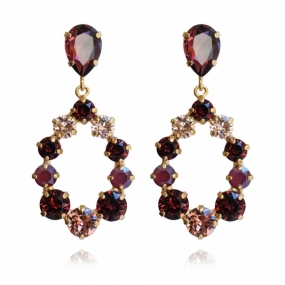 Delia Earrings, Gold & Burgundy