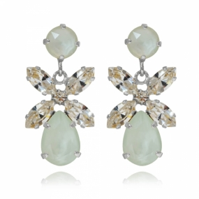 Mini Dione Earrings Silver, Powder Green & Crystal