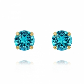 Classic Stud Earrings Gold, Light Turquoise