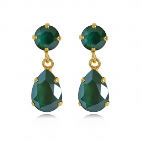 Mini Drop Earrings Gold, Royal Green