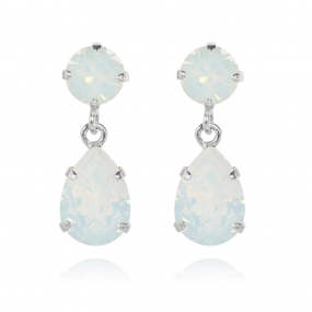 Mini Drop Earrings Silver, White Opal