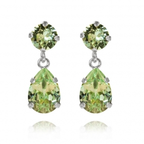 Mini Drop Earrings Silver, Chrysolite
