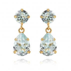 Mini Drop Earrings Gold, Light Azure