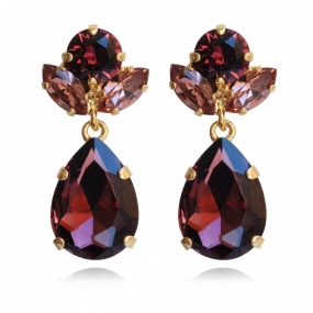 Isadora Earrings, Gold & Burgundy
