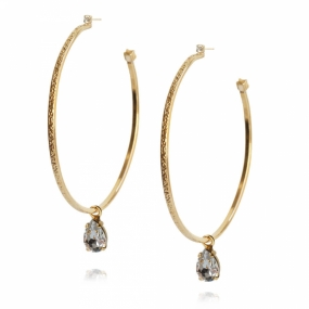 Loop Earrings, Gold & Black Diamond