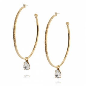 Loop Earrings, Gold & Crystal