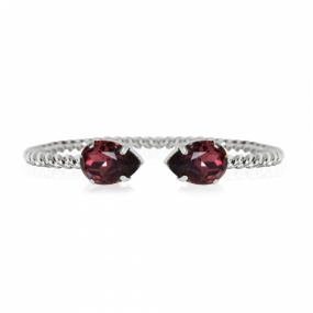 Mini Drop Bracelet, Rhodium & Burgundy