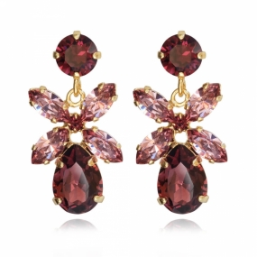 Mini Dione Earrings, Gold & Burgundy & Rose Blush