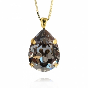 Classic Drop Necklace, Gold & Black Diamond