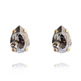 Mini Drop Stud Earrings, Gold & Black Diamond