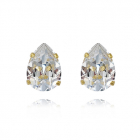 Mini Drop Stud Earrings, Gold & Crystal