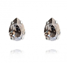 Mini Drop Stud Earrings, Rhodium & Black Diamond