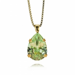 Mini Drop Necklace Gold, Chrysolite