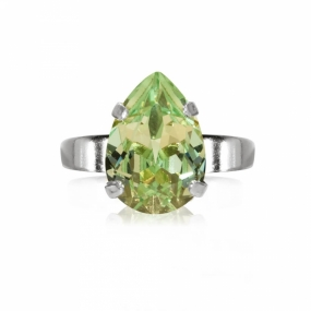 Mini Drop Ring Silver, Chrysolite