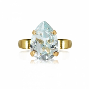 Mini Drop Ring Gold, Light Azure