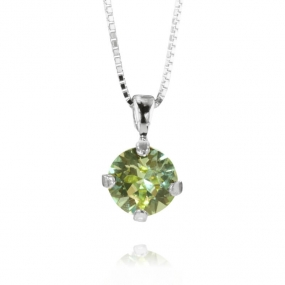 Classic Petite Stud Necklace Silver, Chrysolite