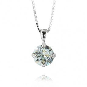 Classic Petite Stud Necklace Silver, Light Azure