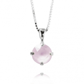 Classic Petite Stud Necklace Silver, Powder Rose