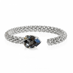 Classic Rope Bracelet, Rhodium & Black Diamond